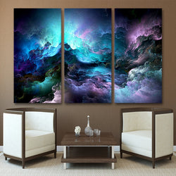 Abstract Psychedelic Nebula Space - 3 Piece Canvas Wall Art