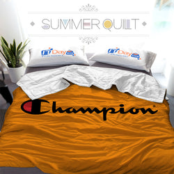 Champion Logo Custom Printed Summer Quilt Blanket