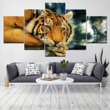 Animal Tiger Scenery - 5 Piece Canvas Wall Art