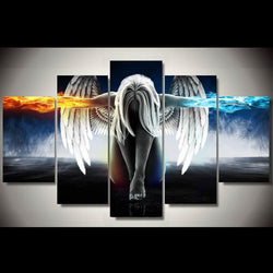 Ice And Fire Angel And Devil Girl - 5 Piece Canvas Wall Art