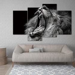 Lion with Mouth Open - 4 Piece Canvas Wall Art