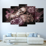 Sugar Skull And Roses Flowers - 5 Piece Canvas Wall Art