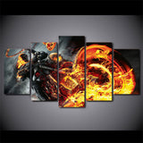 Skull Flame Motorcycle - 5 Piece Canvas Wall Art