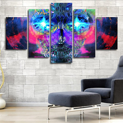 Psychedelic Artistic Skull - 5 Piece Canvas Wall Art