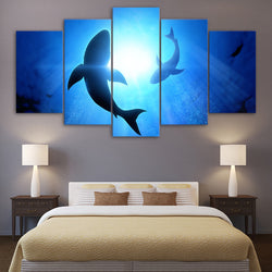 Abstract Shark - 5 Piece Canvas Wall Art