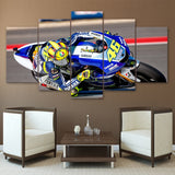 Blue Motorcycle Sports - 5 Piece Canvas Wall Art