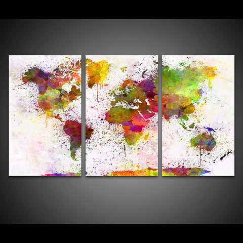 Color world map 3 piece canvas wall art itdayshop color world map 3 piece canvas wall art gumiabroncs Gallery