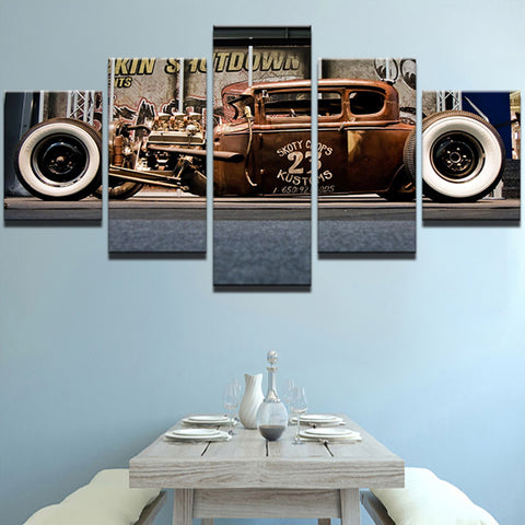 Old Vintage Car - 5 Piece Canvas Wall Art