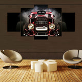 Car Red and Black - 5 Piece Canvas Wall Art