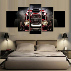 Red Car Vintage - 5 Piece Canvas Wall Art