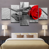 Red Rose Flowers - 5 Piece Canvas Wall Art