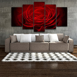 Red Rose Flowers Black Background - 5 Piece Canvas Wall Art