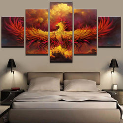 Fire Phoenix - 5 Piece Canvas Wall Art