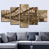 Artistic Old Car Vintage - 5 Piece Canvas Wall Art