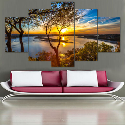 Beautiful Sunrise Natural Landscape - 5 Piece Canvas Wall Art