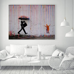 Colorful Rain by Banksy - 1 Piece Canvas Wall Art