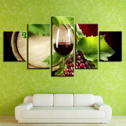 Wine Grapes Leaf Wall - 5 Piece Canvas Wall Art