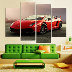 Red Sports Car - 4 Piece Canvas Wall Art