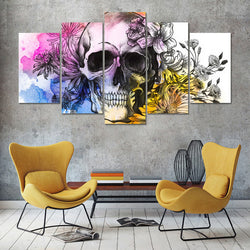 Skull With Flowers - 5 Piece Canvas Wall Art