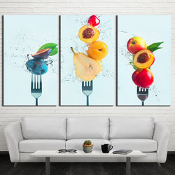 Fruit on Fork - 3 Piece Canvas Wall Art