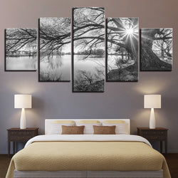 Lakeside Big Trees Black White Landscape - 5 Piece Canvas Wall Art