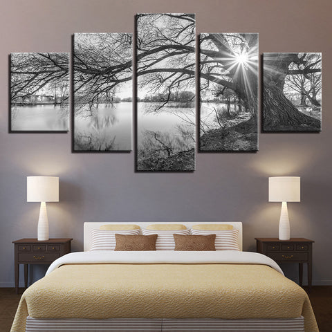 lakeside big trees black white landscape 5 piece canvas wall art