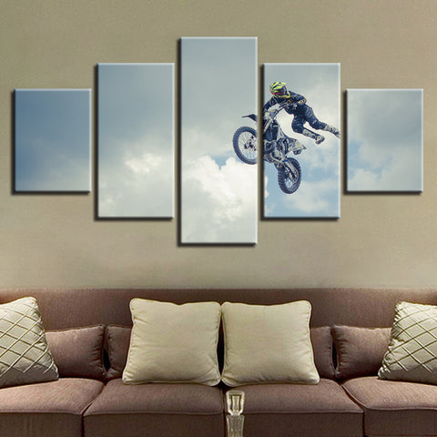Sky Motorcycle - 5 Piece Canvas Wall Art