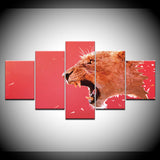 Abstract Animal Red Leopard - 5 Piece Canvas Wall Art