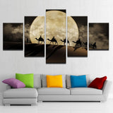 Moon Camel Night View - 5 Piece Canvas Wall Art