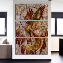 Dreamcatcher Phoenix - 3 Piece Canvas Wall Art