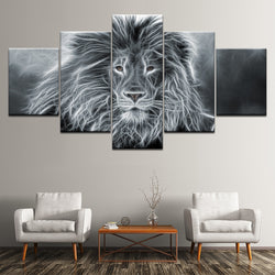 Lion Animal Abstract Black and White - 5 Piece Canvas Wall Art