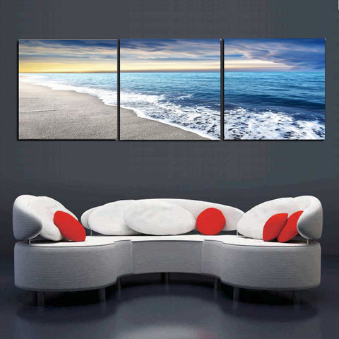 Beach and Wave - 3 Piece Canvas Wall Art – itdayshop