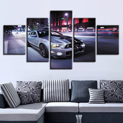Sports Car Nightview - 5 Piece Canvas Wall Art