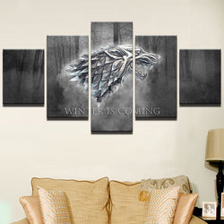 Game Of Thrones Winter is Coming - 5 Piece Canvas Wall Art