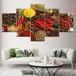 Spoon Grains Spices Peppers Kitchen Theme - 5 Piece Canvas Wall Art