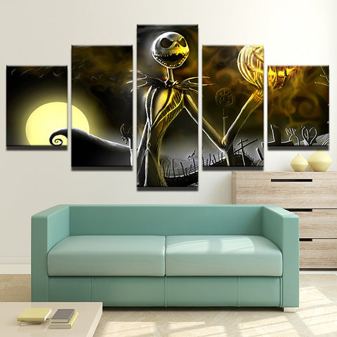 Halloween Poster Nightmare Before Christmas Movie - 5 Piece Canvas Wall Art