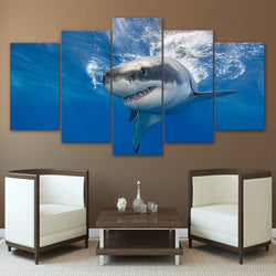 Shark Blue Ocean - 5 Piece Canvas Wall Art