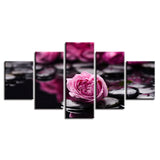 Pink Flowers Stone - 5 Piece Canvas Wall Art