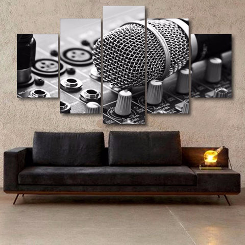 Music Microphone - 5 Piece Canvas Wall Art