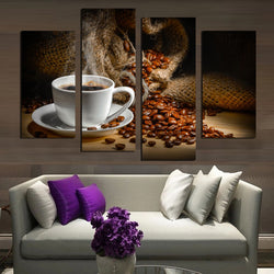 Fragrant Coffee Beans - 4 Piece Canvas Wall Art