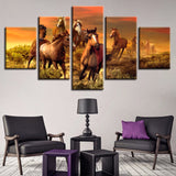Animal Horse - 5 Piece Canvas Wall Art