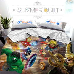 Lego Super Heroes Custom Printed Summer Quilt Blanket