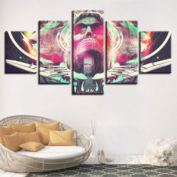 Abstract Skull And Lion - 5 Piece Canvas Wall Art