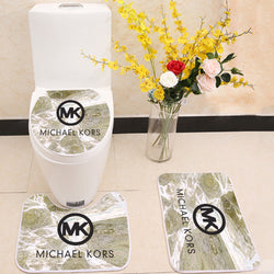 Michael Kors MK Logo Toilet Rug Lid Cover 3 Piece Bath Mat Set