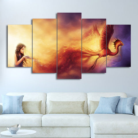 Phoenix And Little Girl Artistic Figures   5 Piece Canvas Wall Art