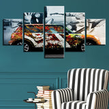 Colorful Car - 5 Piece Canvas Wall Art