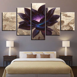Black Lotus Abstract Flower - 5 Piece Canvas Wall Art