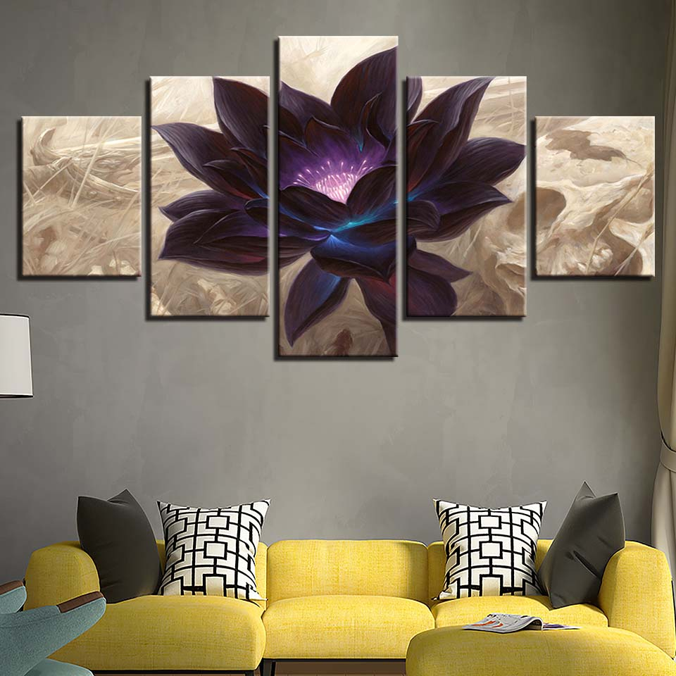 Black Lotus Abstract Flower 5 Piece Canvas Wall Art