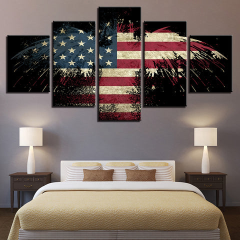 American Flag Eagle - 5 Piece Canvas Wall Art