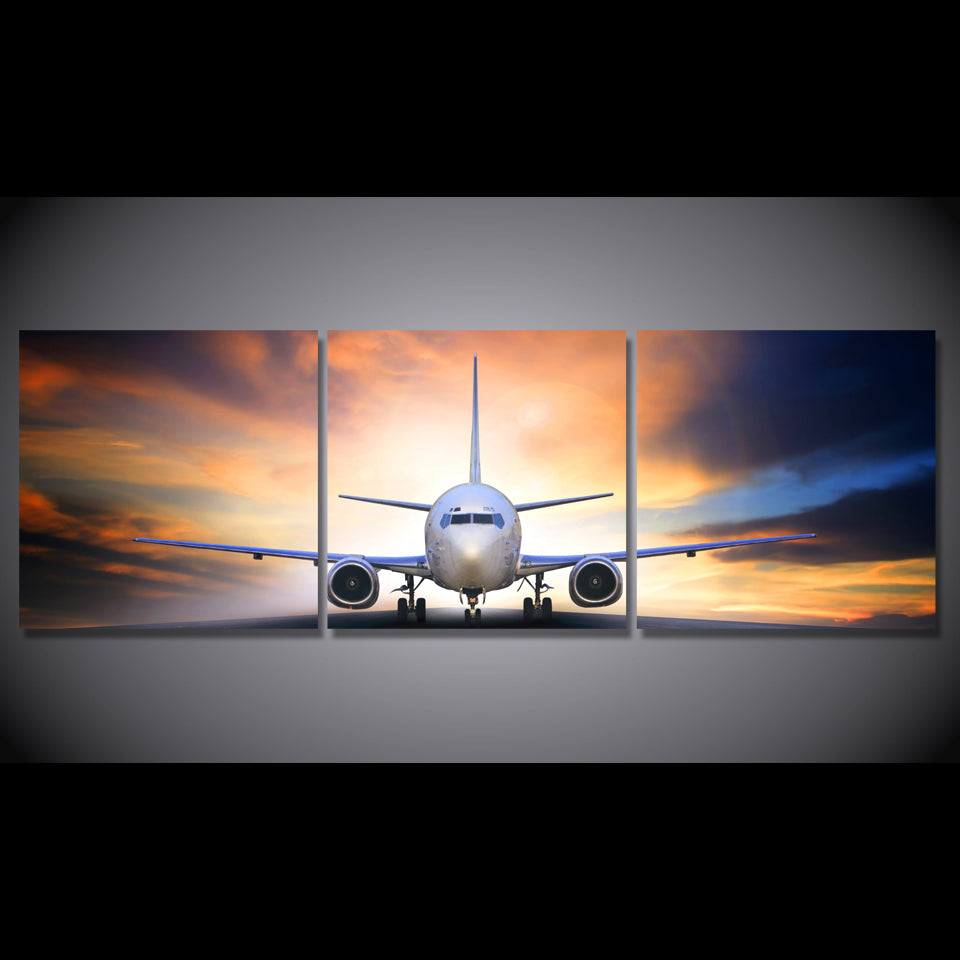 Airplane Sunset Scenery 3 Piece Canvas Wall Art Itdayshop